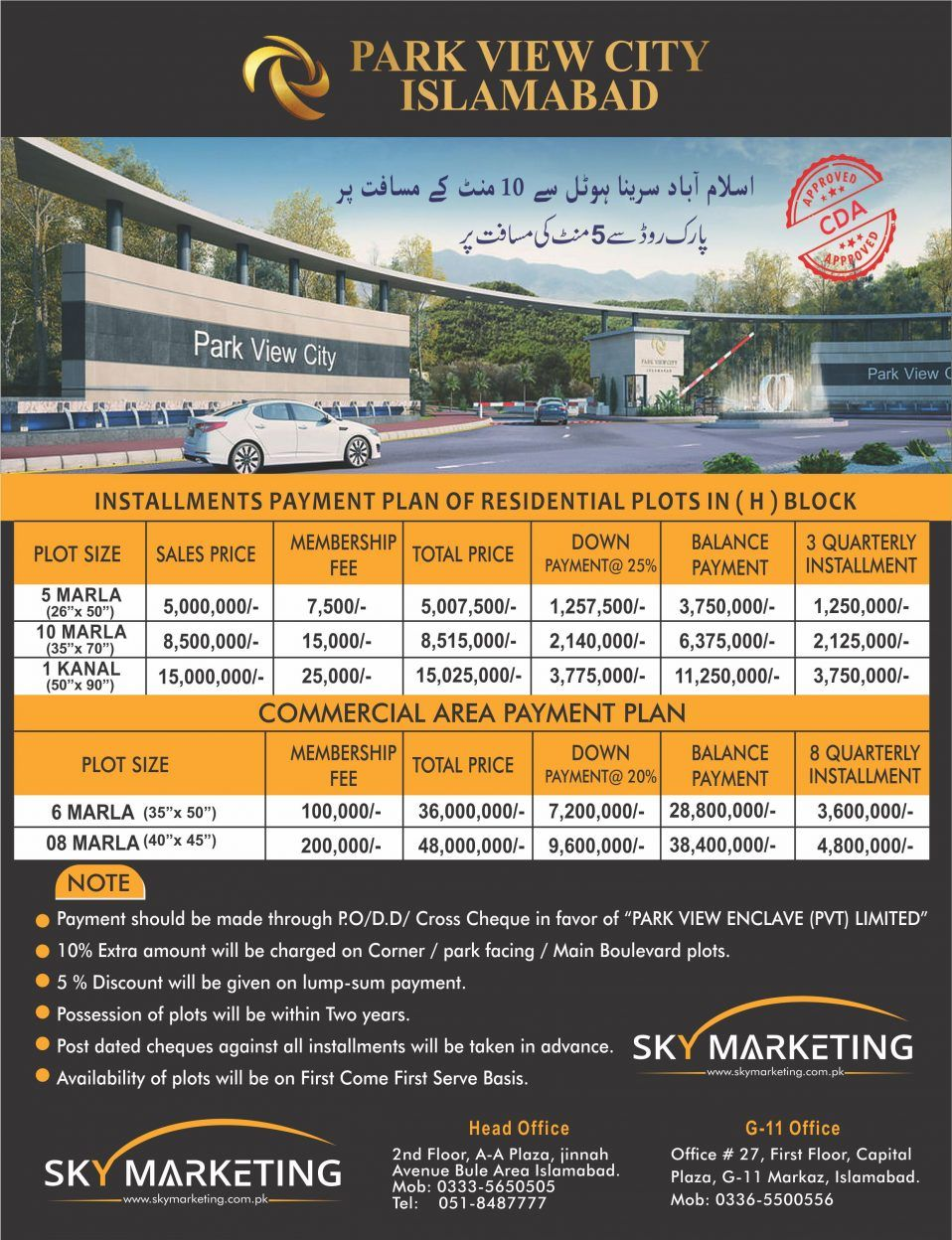 Park View City Payment Plan
