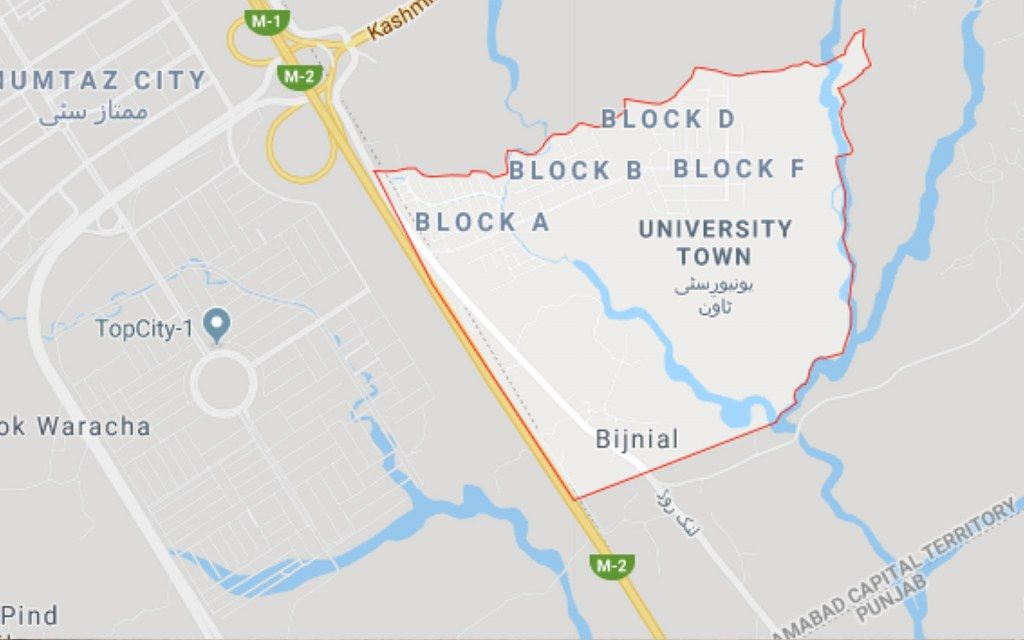 University Town Islamabad Location Map