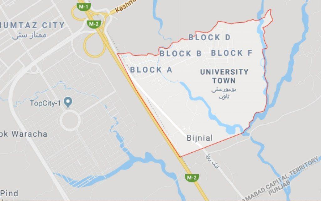 University Town Islamabad Location Map