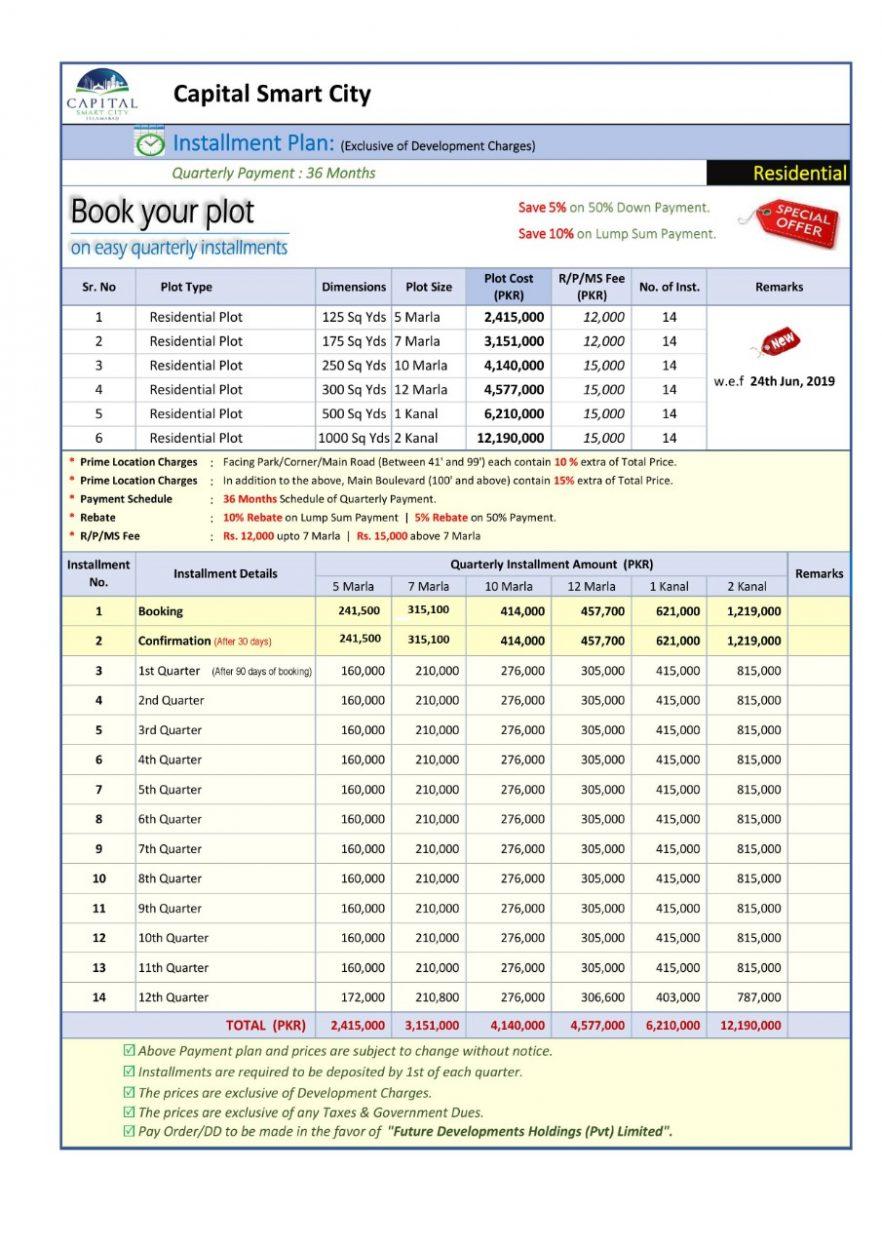 Capital-Smart-City-Islamabad-Payment-Plan