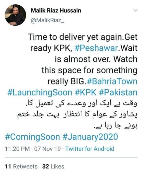 bahria town peshawar launching date