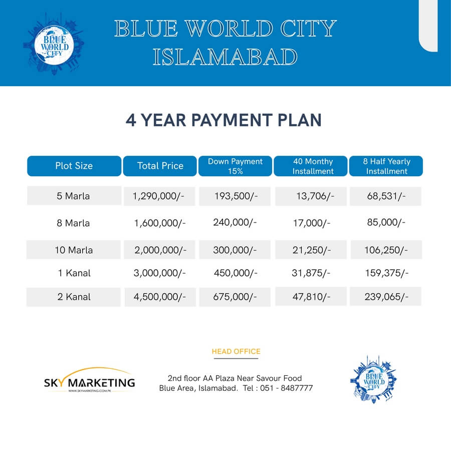 blue world city islamabad payment plan