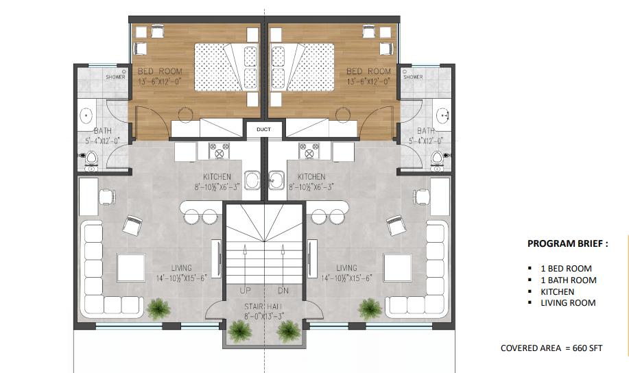 Floor plan of 3.5 marla apartments