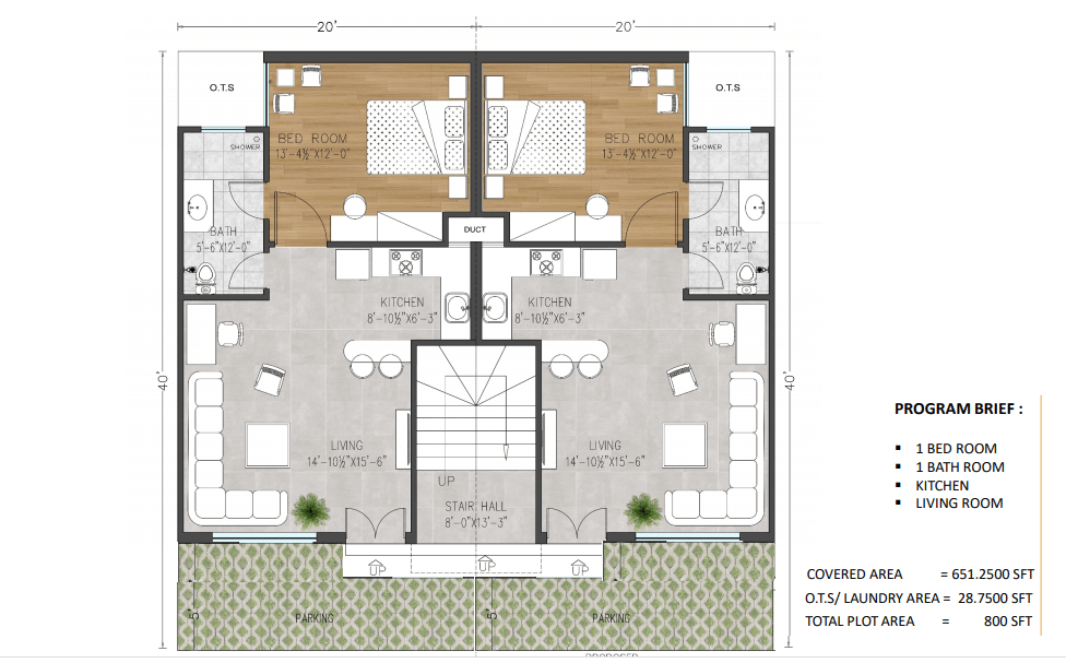Layout plan for ground floor apartments