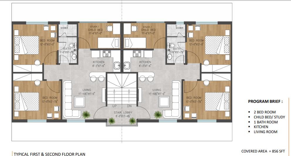 Floor plan of 5 marla apartments